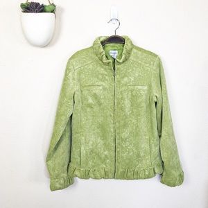•CHICO'S• Lime Floral Corduroy Zip Ruffle Jacket